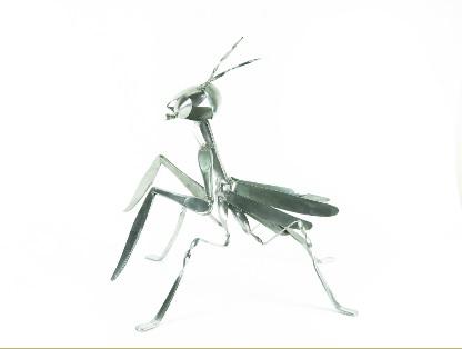 螳螂 --- 西餐叉金屬雕